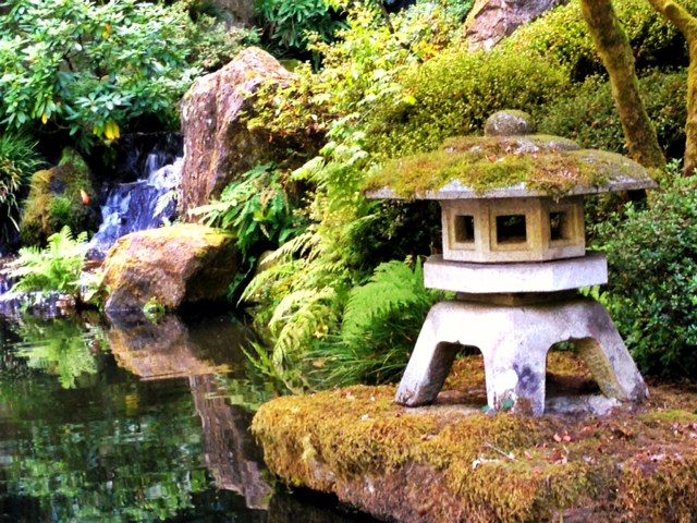 A fountain in Portland OR's Japanese Gardens