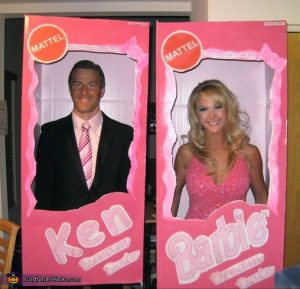 adult barbie and ken cardboard box costume