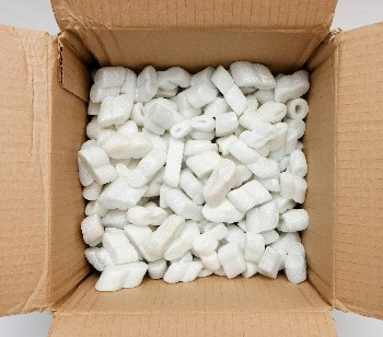 Box of leftover packing peanuts