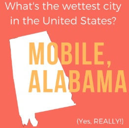 The wettest city in the U.S. is Mobile, Alabama